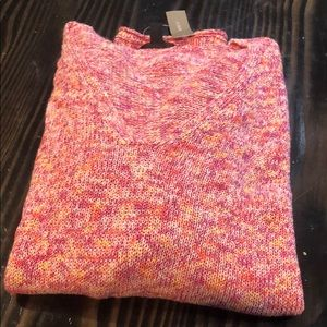 J Crew Womens Knit V Neck Pullover Sweater XL Pink